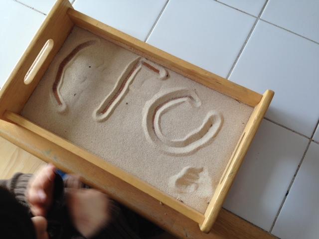 printing words in sand, rice or salt